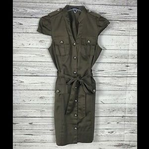Express Military Button Down Belted Green Dress